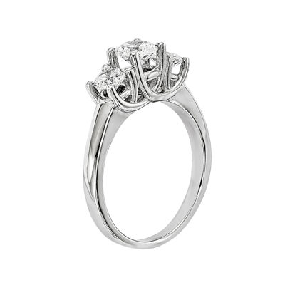 1 CT. T.W. Diamond 14K White Gold 3-Stone Engagement Ring
