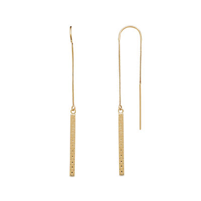 14K Yellow Gold Square Dangle Chain Threader Earrings