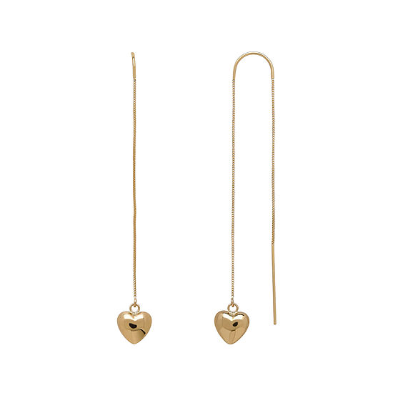 14k Yellow Gold Heart Dangle Chain Threader Earrings