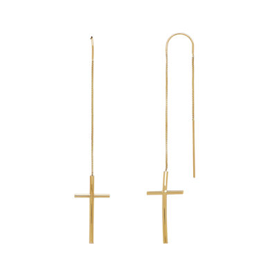 14K Yellow Gold Curve Cross Chain Threader Earrings