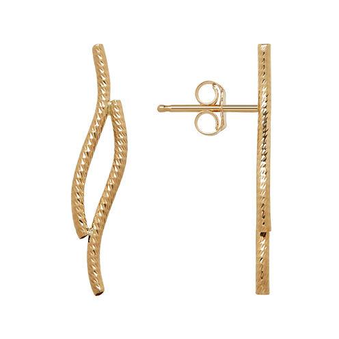 "14K Yellow Gold Diamond Cut ""S"" Shape Climber Earrings"
