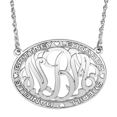 Personalized Sterling Silver Family Name and Monogram Necklace