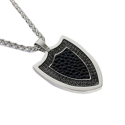 Men's Cubic Zirconia Two-Tone Stainless Steel Shield Pendant