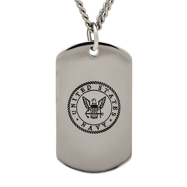 Navy sterling silver dog tag pendant necklace jcpenney navy sterling silver dog tag pendant necklace aloadofball Images