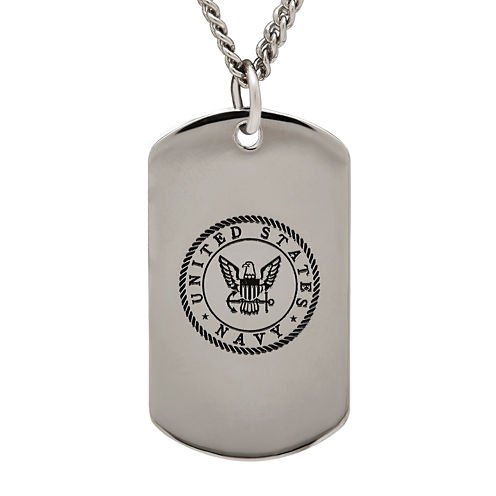 Navy Sterling Silver Dog Tag Pendant Necklace