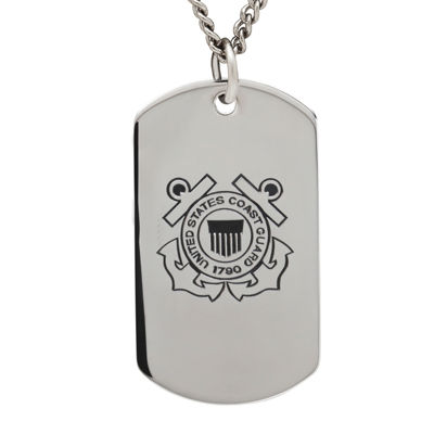 Coast Guard Sterling Silver Dog Tag Pendant Necklace