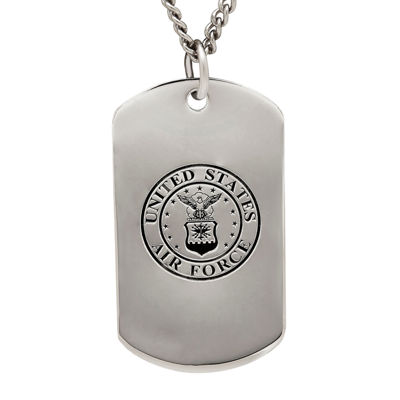 Air Force Sterling Silver Dog Tag Pendant Necklace