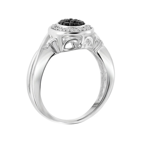 1/4 CT. T.W. White & Color-Enhanced Black Diamond Sterling Silver Ring