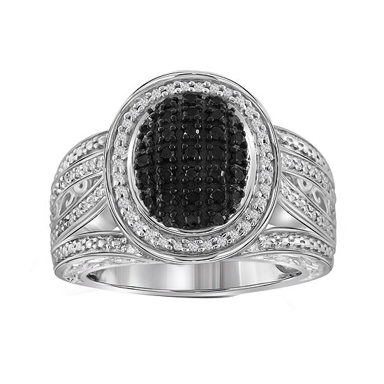 1 2 Ct Tw White Color Enhanced Black Diamond Sterling Silver Ring