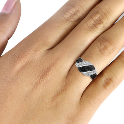1/2 CT. T.W. White & Color-Enhanced Black Diamond Sterling Silver Ring
