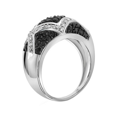 1 CT. T.W. White & Color-Enhanced Black Diamond Sterling Silver Ring