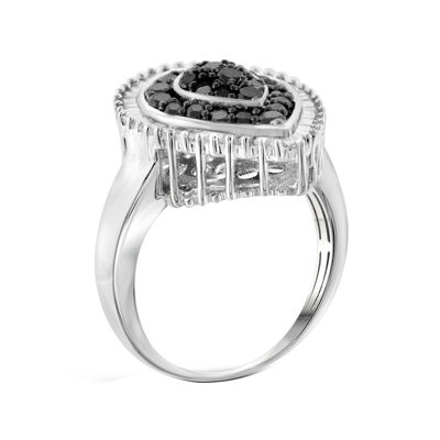 1 CT. T.W. White and Color-Enhanced Black Diamond Sterling Silver Ring