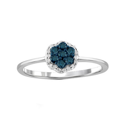 1/4 CT. T.W. White & Color-Enhanced Blue Diamond Cluster Sterling Silver Ring