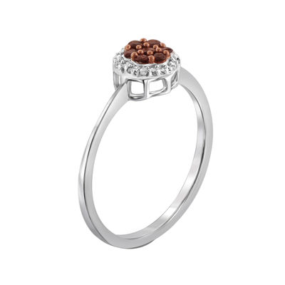 1/4 CT. T.W. White & Color-Enhanced Red Diamond Cluster Sterling Silver Ring