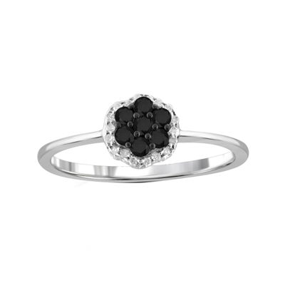 1/4 CT. T.W. White & Color-Enhanced Black Diamond Cluster Sterling Silver Ring