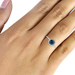 1/2 CT. T.W. White & Color-Enhanced Blue Diamond Cluster Sterling Silver Ring