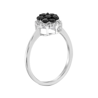 1/2 CT. T.W. White & Color-Enhanced Black Diamond Cluster Sterling Silver Ring