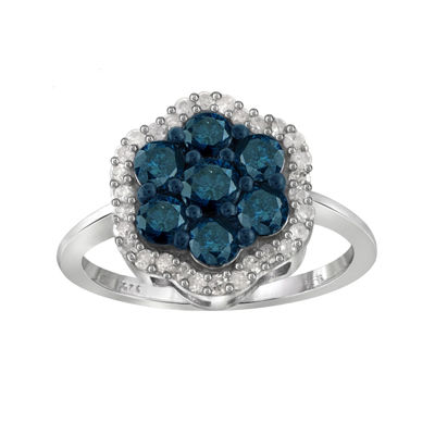 1 CT. T.W. White & Color-Enhanced Blue Diamond Cluster Sterling Silver Ring
