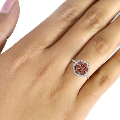 1 CT. T.W. White & Color-Enhanced Red Diamond Cluster Sterling Silver Ring
