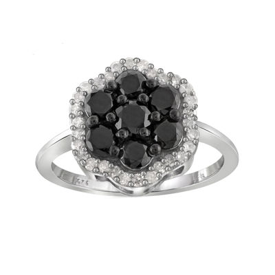 1 CT. T.W. White & Color-Enhanced Black Diamond Cluster Sterling Silver Ring