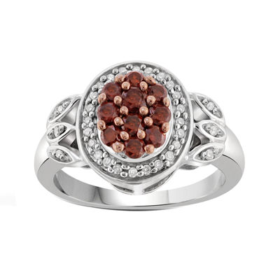 1/2 CT. T.W. White & Color-Enhanced Red Diamond Sterling Silver Ring