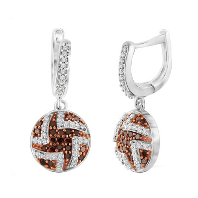 1/2 CT. T.W. White & Color-Enhanced Red Diamond Sterling Silver Earrings