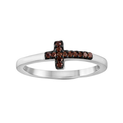 1/10 CT. T.W. Color-Enhanced Red Diamond Sterling Silver Cross Ring