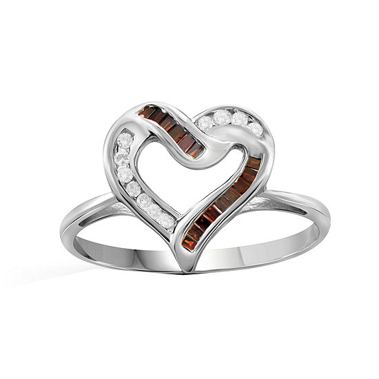 1/4 CT. T.W. White & Color-Enhanced Red Diamond Sterling Silver Heart Ring
