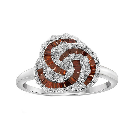 1/4 CT. T.W. White & Color-Enhanced Red Diamond Sterling Silver Baguette Ring