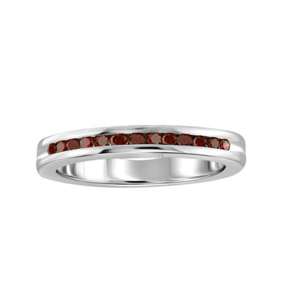 1/4 CT. T.W. Color-Enhanced Red Diamond Sterling Silver Band Ring