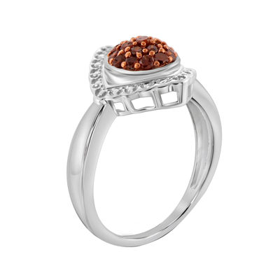 1/3 CT. T.W. White & Color-Enhanced Red Diamond Sterling Silver Ring