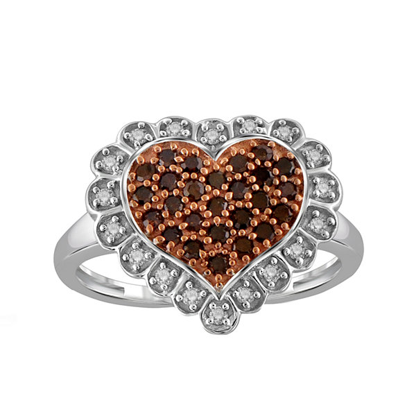 Fine Jewelry 1/10 CT. T.W. Color-Enhanced Red Diamond Sterling Silver Ring