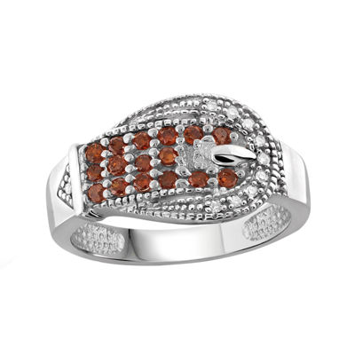 1/2 CT. T.W. White & Color-Enhanced Red Diamonds Sterling Silver Buckle Ring