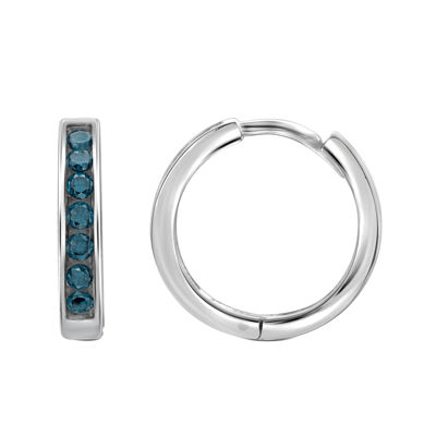 1/2 CT. T.W. Color-Enhanced Blue Diamond Sterling Silver Hoop Earrings