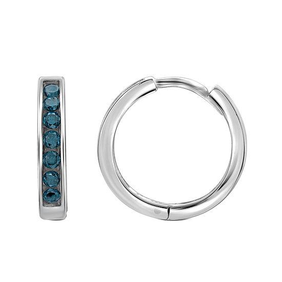 1/2 CT. T.W. Color-Enhanced Blue Diamond Sterling Silver Hoop Earrings