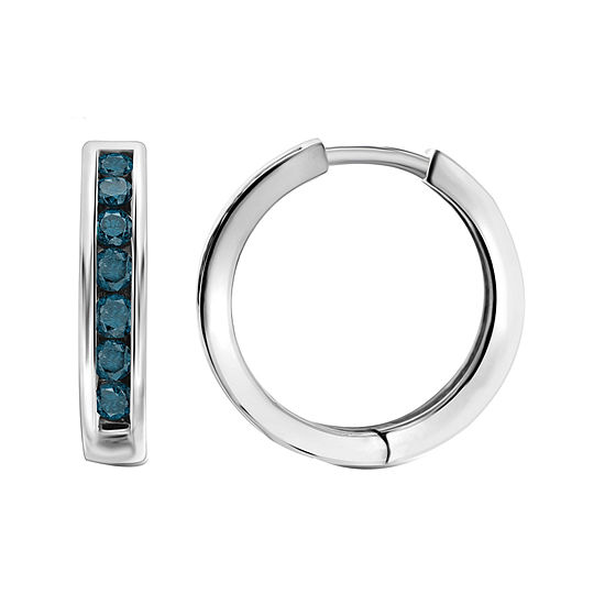 1 Ct Tw Color Enhanced Blue Diamond Sterling Silver Hoop Earrings
