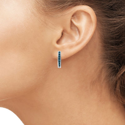 1 CT. T.W. Color-Enhanced Blue Diamond Sterling Silver Hoop Earrings