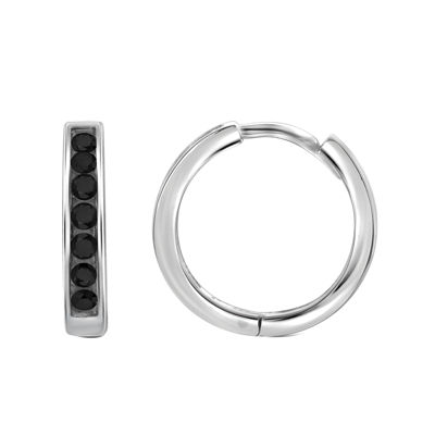 1/2 CT. T.W. Color-Enhanced Black Diamond Sterling Silver Hoop Earrings
