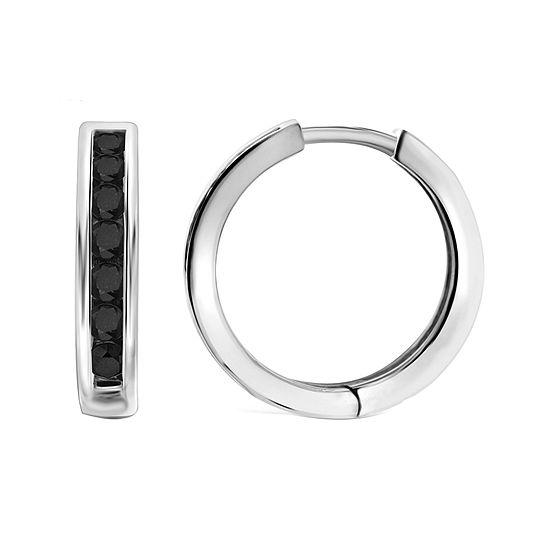 1 CT. T.W. Color-Enhanced Black Diamond Sterling Silver Hoop Earrings