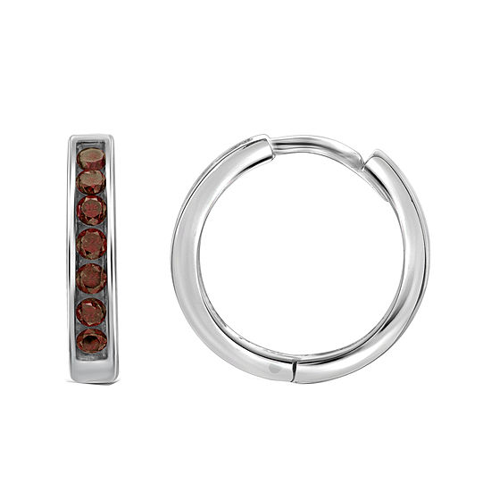 1/2 CT. T.W. Color-Enhanced Red Diamond Sterling Silver Hoop Earrings