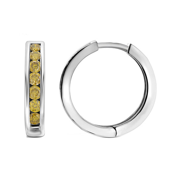 1 CT. T.W. Color-Enhanced Yellow Diamond Sterling Silver Hoop Earrings