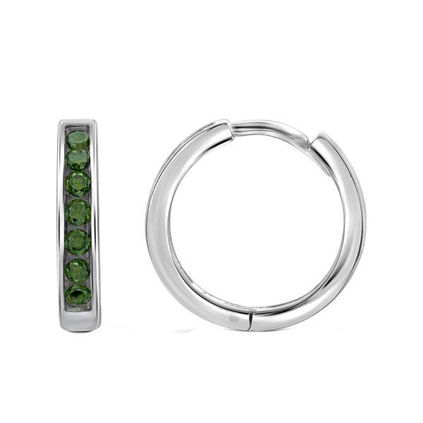 1/2 CT. T.W. Color-Enhanced Green Diamond Sterling Silver Hoop Earrings