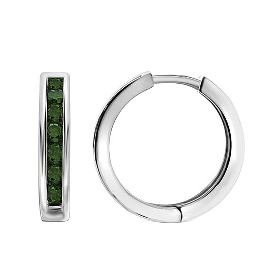 1 CT. T.W. Color-Enhanced Green Diamond Sterling Silver Hoop Earrings
