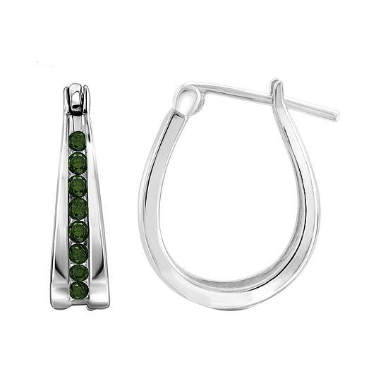 1 4 Ct Tw Color Enhanced Green Diamond Sterling Silver Hoop Earrings