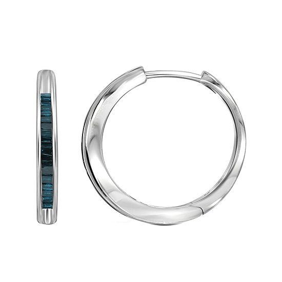 Sterling Silver Genuine Blue Diamond Hoop Earrings