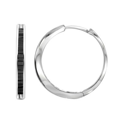 Sterling Silver Genuine Black Diamond Hoop Earrings