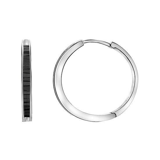 Sterling Silver Genuine Black Diamond Hoop Earrings