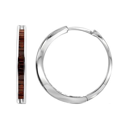 1/4 CT. T.W. Color-Enhanced Red Diamond Sterling Silver Hoop Earrings