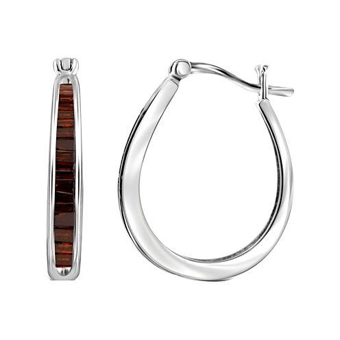 1 CT. T.W. Color-Enhanced Red Diamond Sterling Silver Hoop Earrings