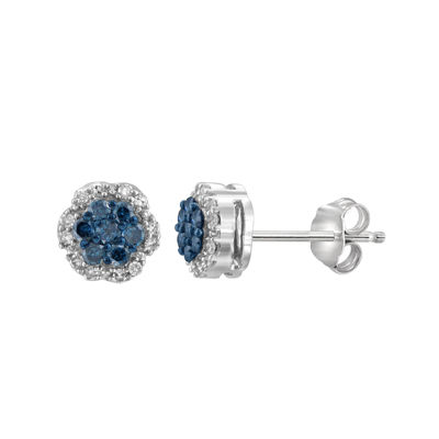 1/4 CT. T.W. White & Color-Enhanced Blue Diamond Cluster Sterling Silver Earrings